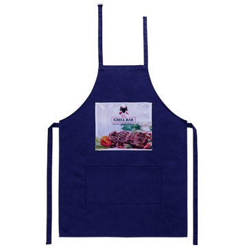 Apron, Navy blue, with...